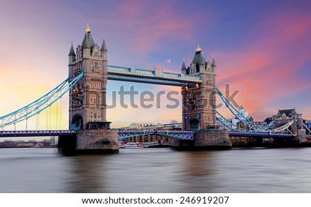 Tower Bridge in London, UK - stock photo