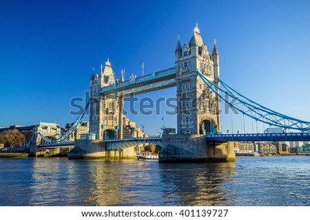 Tower Bridge in London, UK with blue sky - stock photo
