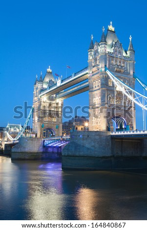 Tower Bridge in the evening, London, UK  - stock photo