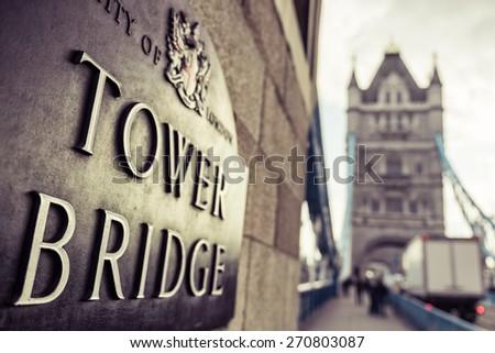 Tower Bridge London Plaque in Golden Sun - stock photo