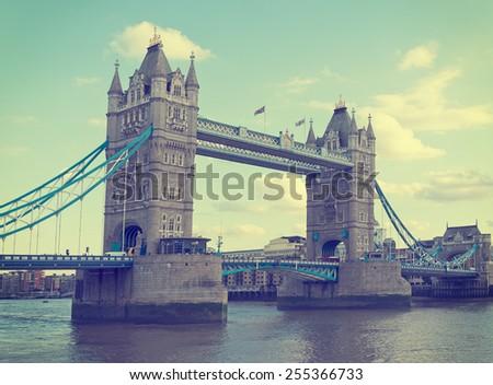 Tower Bridge, London, UK. Retro filtered image. Logos etc removed. - stock photo