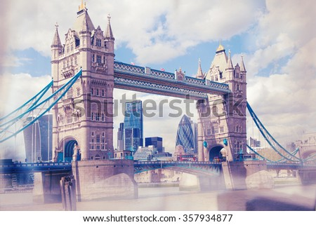 Tower bridge, London. Vintage effect  - stock photo