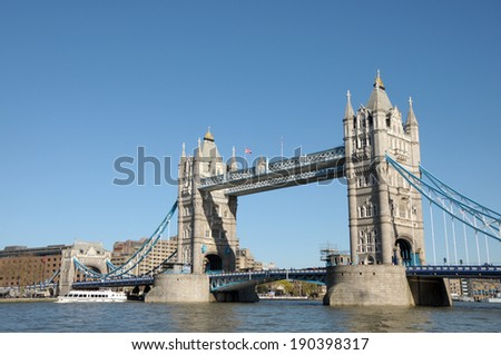 Tower Bridge over River Thames in London - stock photo