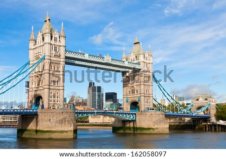 Tower Bridge over the River Thames in London - stock photo