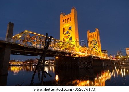 Tower Bridge Sacramento River Capital City California Downtown Skyline - stock photo