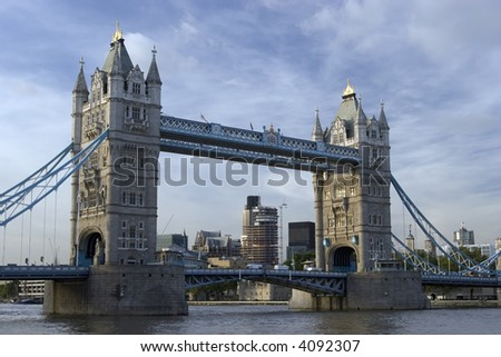 Tower Bridge with blue sky in London - stock photo