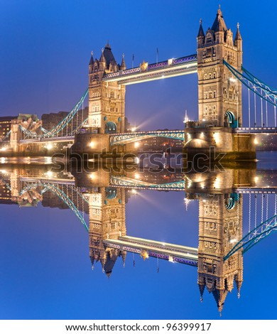 Tower Bridge with wave reflection, London, UK - stock photo