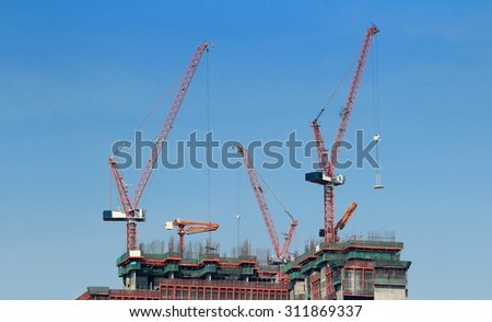 tower crane on building - stock photo