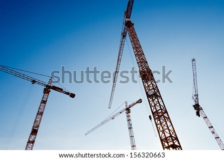 tower cranes - stock photo