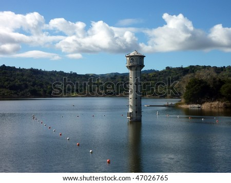 Tower in Lafayette Reservoir, California - stock photo
