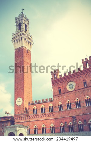 Tower in Siena, Italy. Retro style filtred image - stock photo