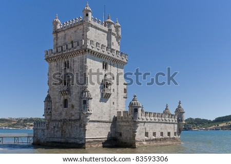 Tower of Belem in Lisbon Tagus Estuary - stock photo