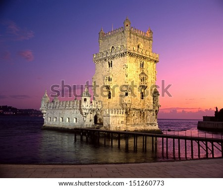 Tower of Belem, Lisbon, Portugal, Western Europe. - stock photo
