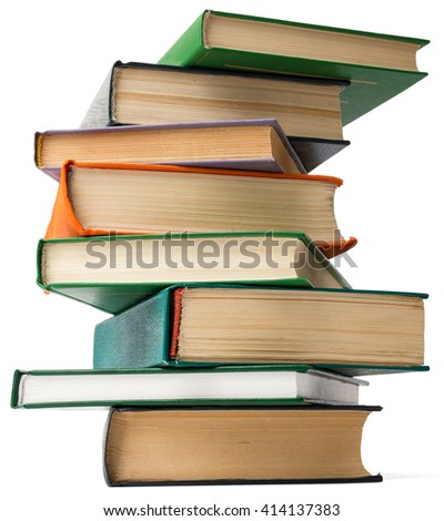 Tower of books. Isolated on white background - stock photo