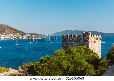 Tower of Castle of Saint Peter in Bodrum, Turkey - stock photo