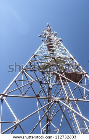 Tower of cellular mobile communication - stock photo