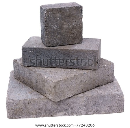 Tower of concrete construction blocks, isolated against background - stock photo