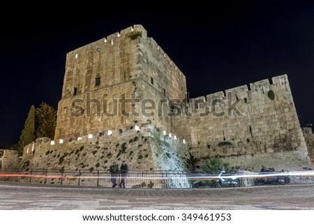 Tower of David museum in Jerusalem, Israel - stock photo