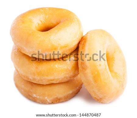 tower of donuts isolated on a white background - stock photo