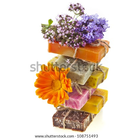 tower of handmade soaps isolated on white - stock photo