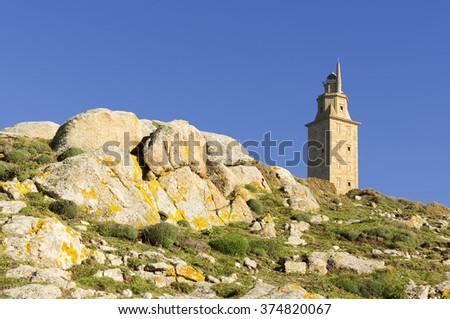 Tower of Hercules , Torre de Hercules , UNESCO , La Coruna , A Coruna , Spain ;  roman lighthouse   - stock photo
