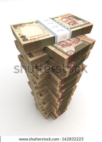 Tower of Indian Rupee - stock photo