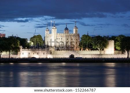 Tower of London at dusk, England, UK - stock photo