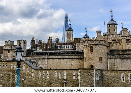 Tower of London (Her Majesty's Royal Palace and Fortress) - historic castle on the north bank of the River Thames in central London - a popular tourist attraction.  - stock photo