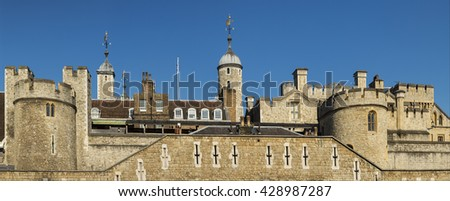 Tower of london with blue sky - stock photo