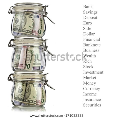 Tower of  Money jars full of savings. Business concept. Isolated on white background - stock photo