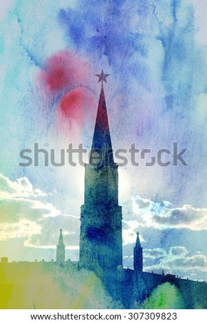 Tower of Moscow Kremlin photographed close up - stock photo