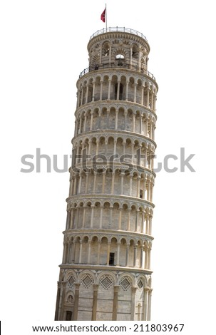 Tower of Pisa in Italy with white background - stock photo