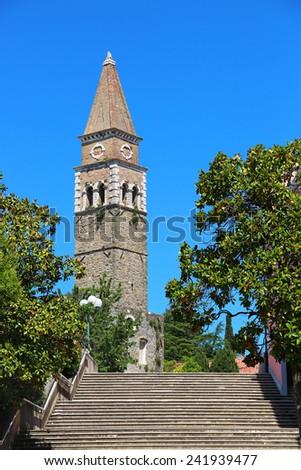 Tower of St. Bernardin church in Portoroz, Slovenia - stock photo