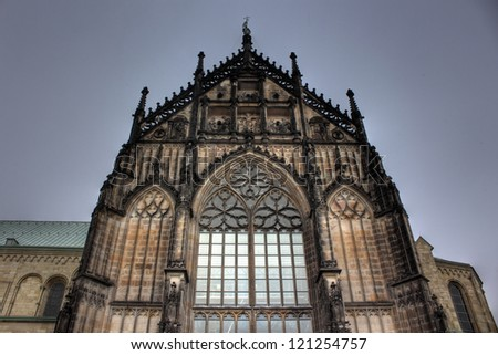 Tower of St. Paulus cathedral in Muenster, Germany - stock photo