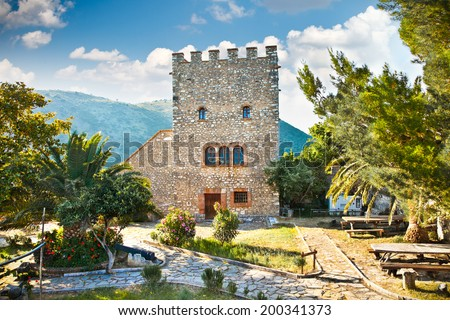 Tower of the ancient Baptistery dated from the 6th century at Butrint, Albania. - stock photo
