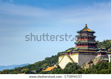 Tower of the Fragrance of the Buddha (Foxiang Ge) in Summer Palace in Beijing, China - stock photo