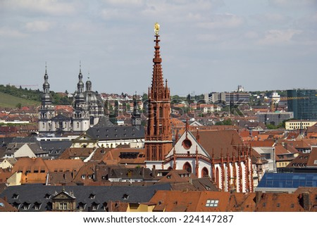 Tower of the Marienkapelle church in Wurzburg, Germany - stock photo