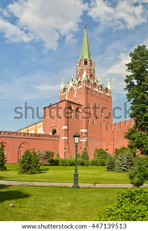 Tower Of The Moscow Kremlin. Tower and part of the wall of the Kremlin on a summer day. - stock photo