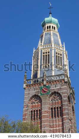 Tower of the Zuiderkerk in historical village Enkhuizen, Holland - stock photo