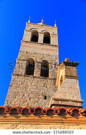 Tower of traditional orthodox monastery near the Adriatic sea - stock photo