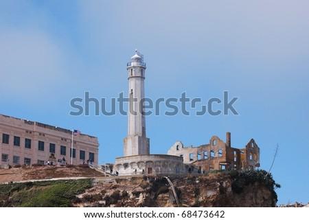 Tower on Alcatraz Island - stock photo