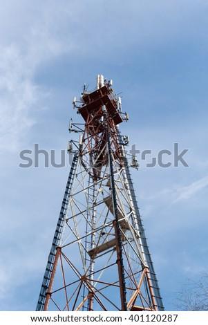 tower with antennas - stock photo