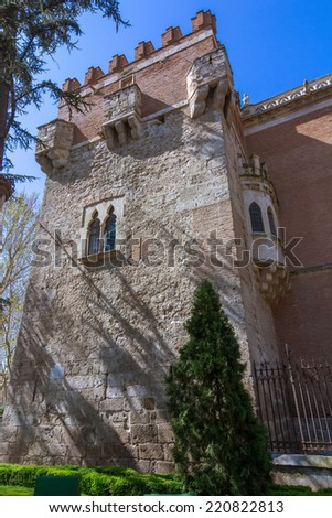 tower with windows Palace of the Archbishop in Alcala de Henares, Spain - stock photo