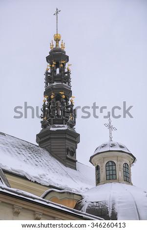 towers at Jasna Gora Monastery. Czestochowa, Poland. - stock photo