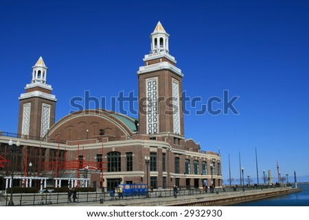 Towers at the end of the Navy Pier, Chicago - stock photo