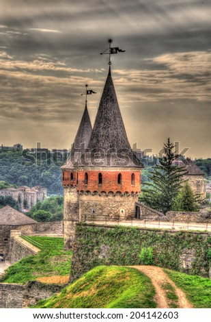 Towers of Kamianets-Podilskyi Castle, Ukraine - stock photo