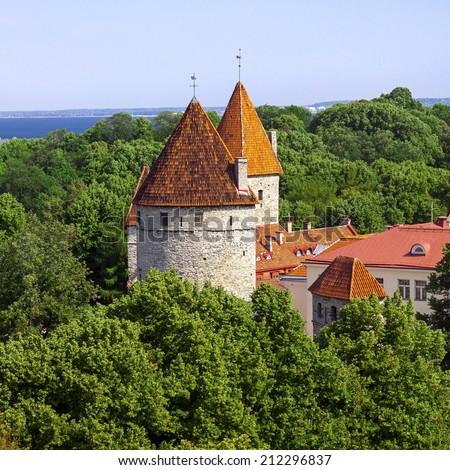 Towers of old castle in Tallinn, capital of Estonia - stock photo
