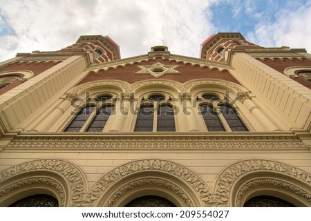 Towers of the Great Synagogue in Plzen , Czech republic, July 2014 - stock photo