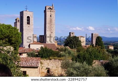 Towers of the historical village of San Gimignano, Tuscany, Italy - stock photo