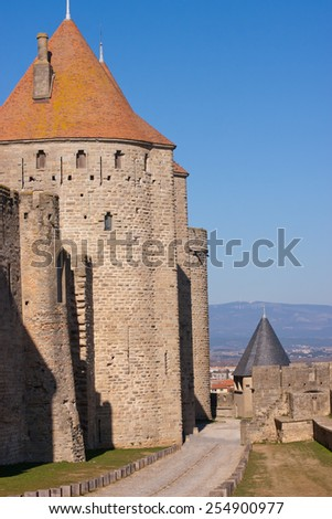 Towers of the medieval town of Carcassonne, France - stock photo